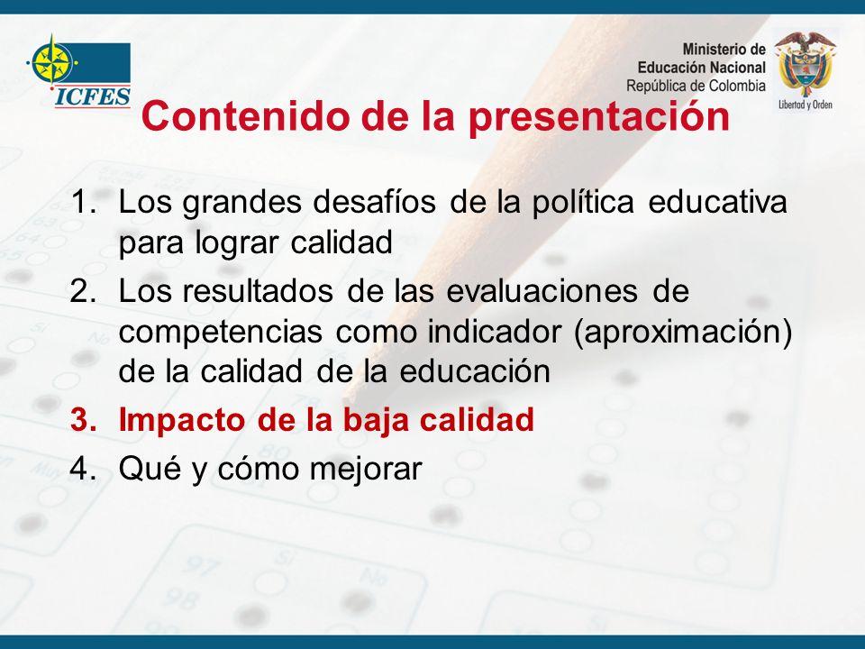 Contenido de la presentación 1.Los grandes desafíos de la política educativa para lograr calidad 2.Los resultados de las evaluaciones de competencias