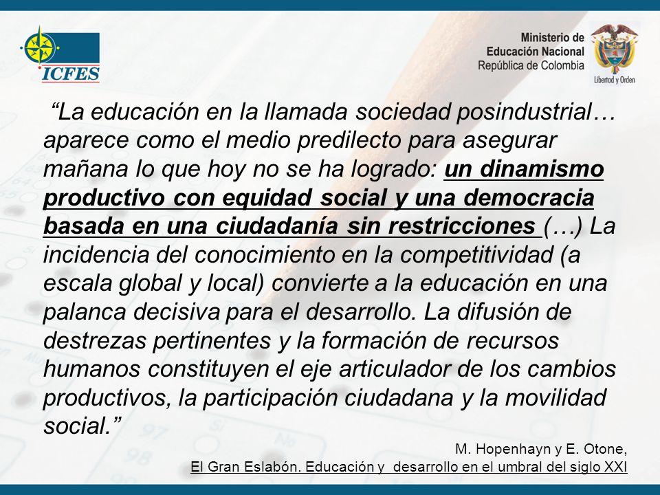 La educación en la llamada sociedad posindustrial… aparece como el medio predilecto para asegurar mañana lo que hoy no se ha logrado: un dinamismo pro