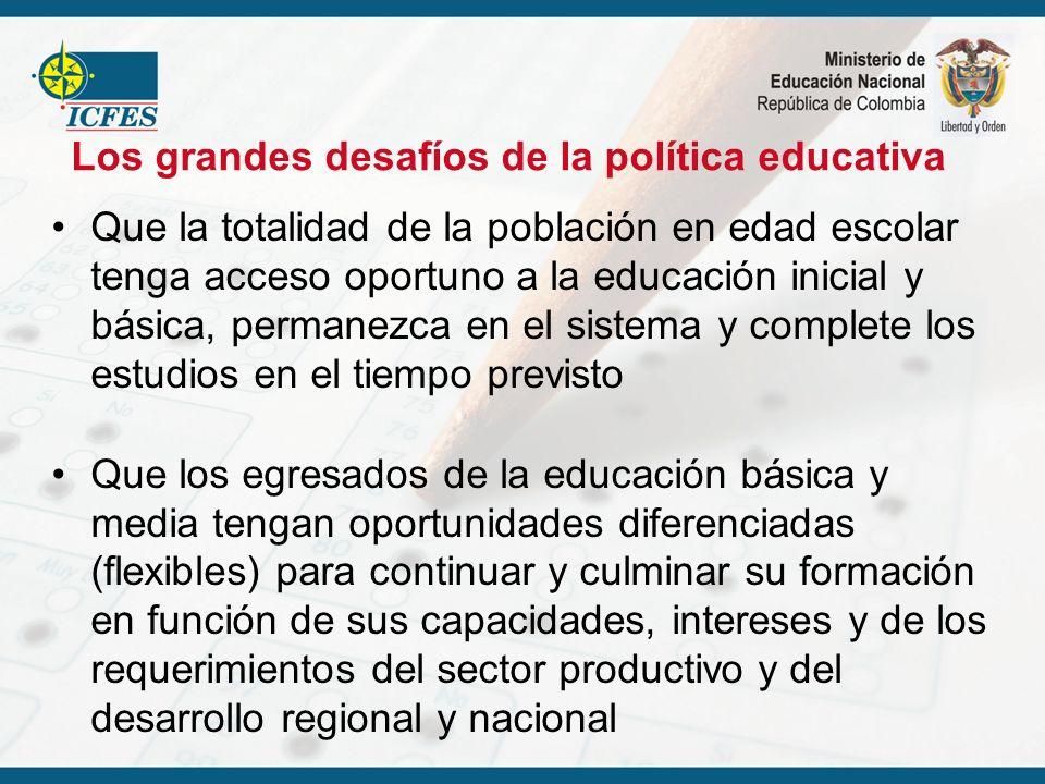 Los grandes desafíos de la política educativa Que la totalidad de la población en edad escolar tenga acceso oportuno a la educación inicial y básica,