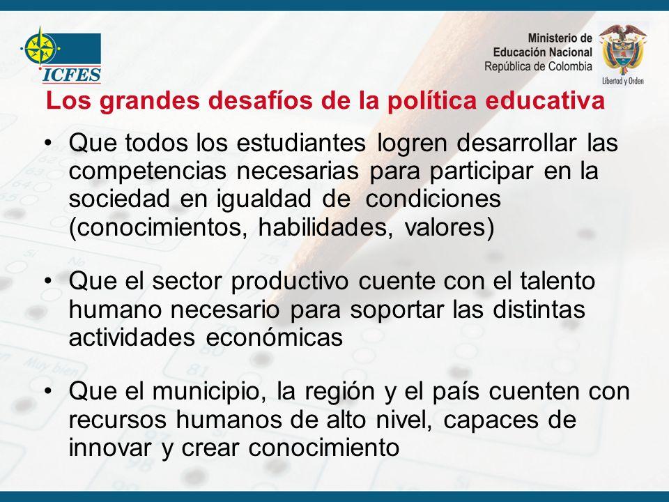 Que todos los estudiantes logren desarrollar las competencias necesarias para participar en la sociedad en igualdad de condiciones (conocimientos, hab