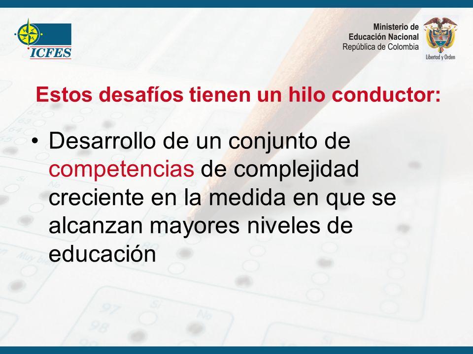 Estos desafíos tienen un hilo conductor: Desarrollo de un conjunto de competencias de complejidad creciente en la medida en que se alcanzan mayores ni