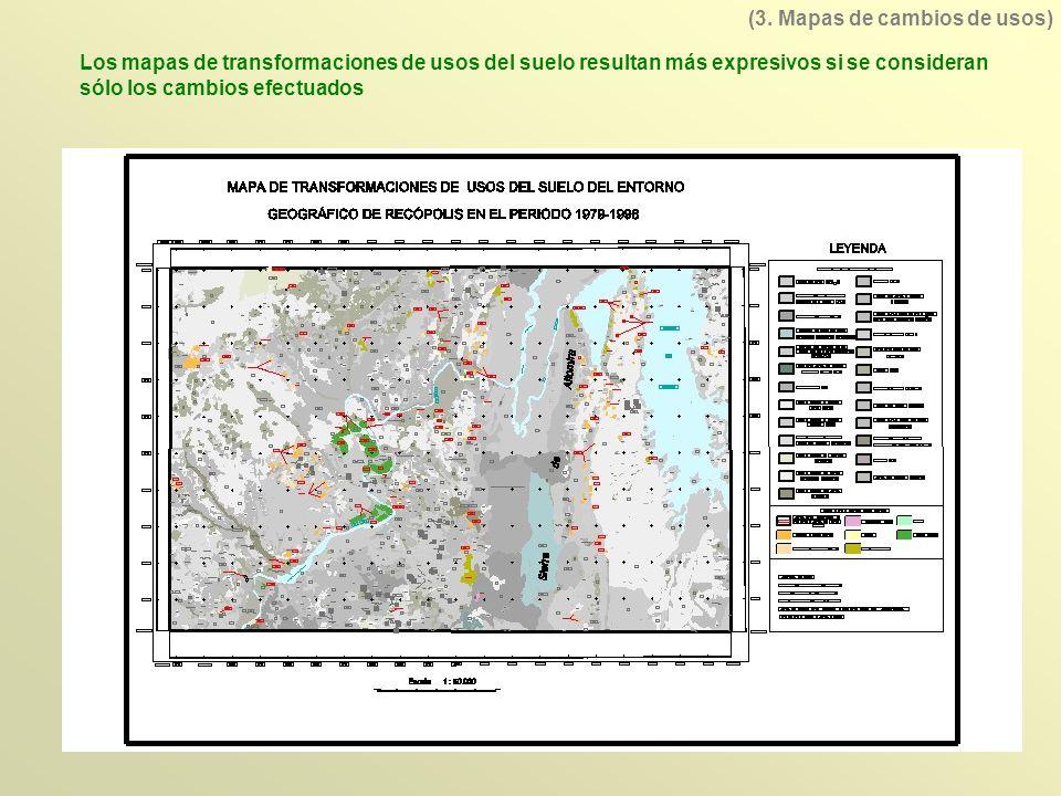 Los mapas de transformaciones de usos del suelo resultan más expresivos si se consideran sólo los cambios efectuados (3. Mapas de cambios de usos)