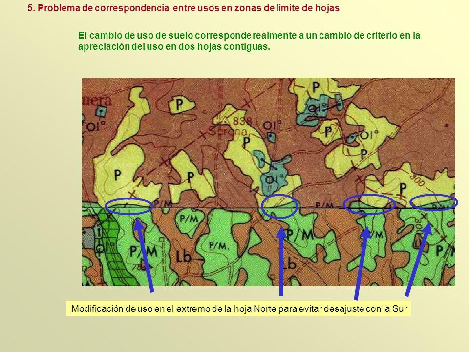 5. Problema de correspondencia entre usos en zonas de límite de hojas Modificación de uso en el extremo de la hoja Norte para evitar desajuste con la