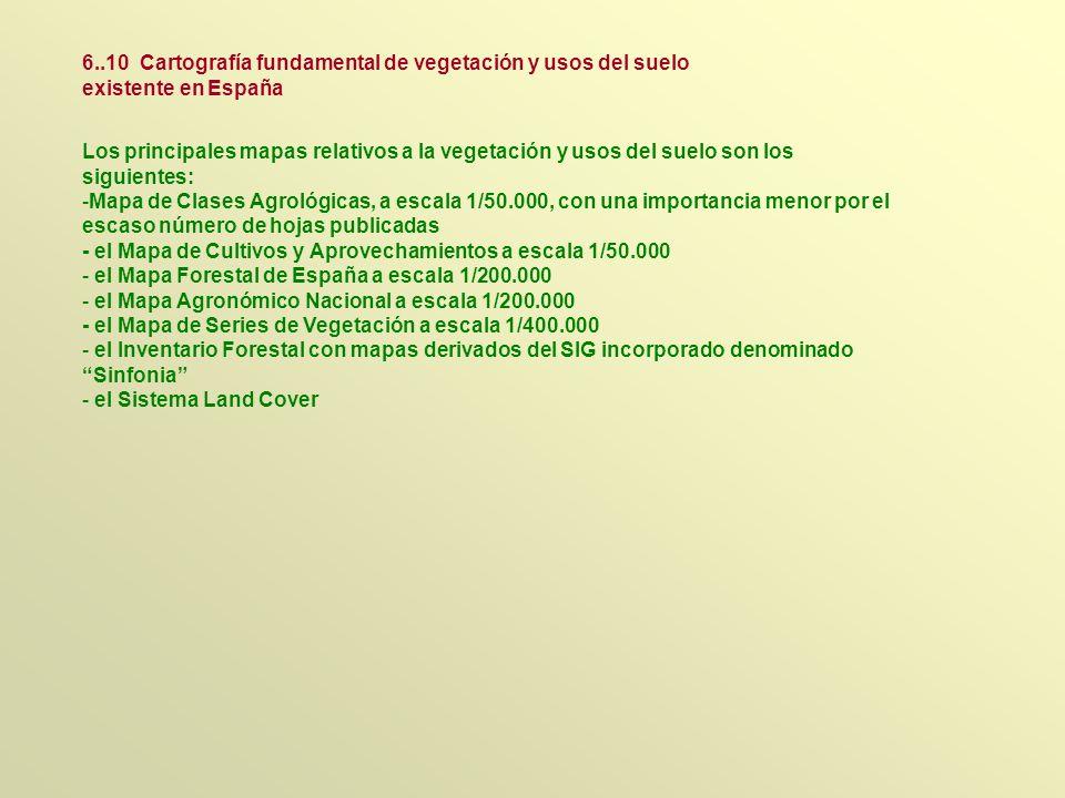Los principales mapas relativos a la vegetación y usos del suelo son los siguientes: -Mapa de Clases Agrológicas, a escala 1/50.000, con una importanc