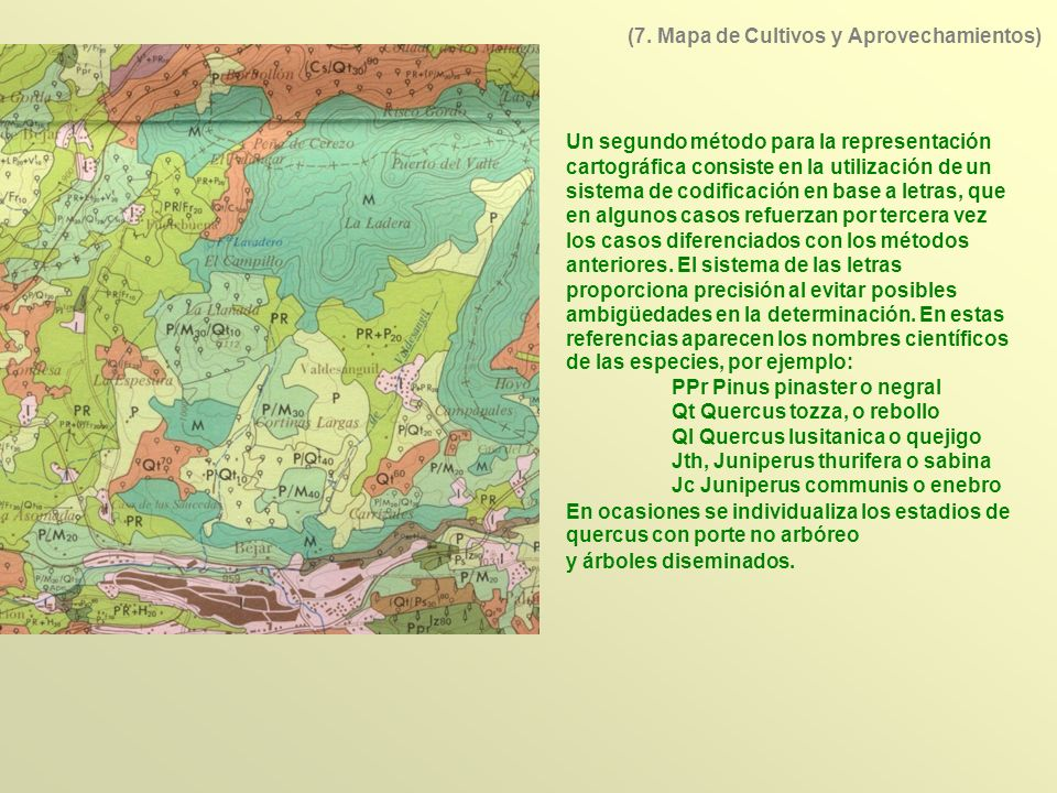 Un segundo método para la representación cartográfica consiste en la utilización de un sistema de codificación en base a letras, que en algunos casos