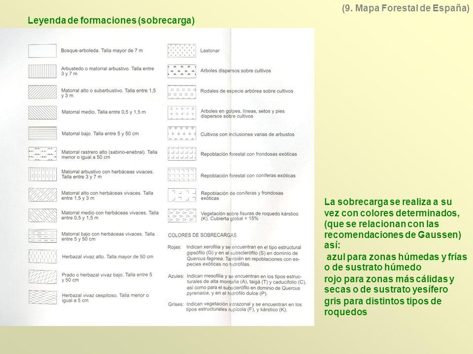 Leyenda de formaciones (sobrecarga) (9. Mapa Forestal de España) La sobrecarga se realiza a su vez con colores determinados, (que se relacionan con la