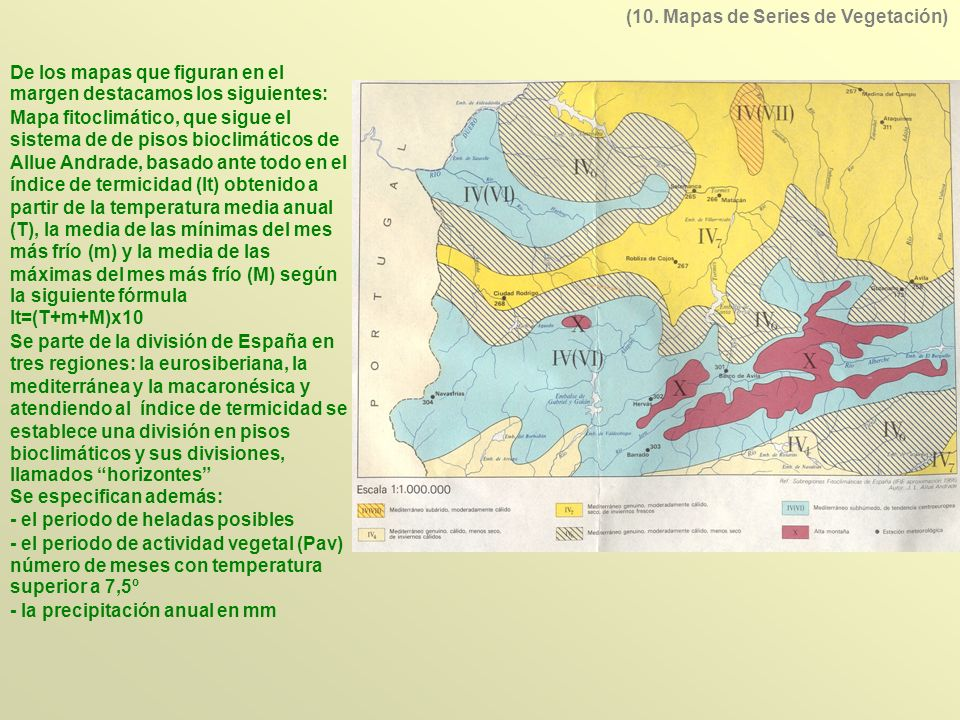 De los mapas que figuran en el margen destacamos los siguientes: Mapa fitoclimático, que sigue el sistema de de pisos bioclimáticos de Allue Andrade,