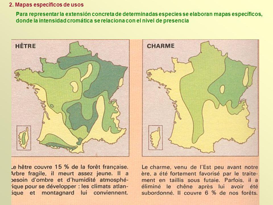 Para representar la extensión concreta de determinadas especies se elaboran mapas específicos, donde la intensidad cromática se relaciona con el nivel
