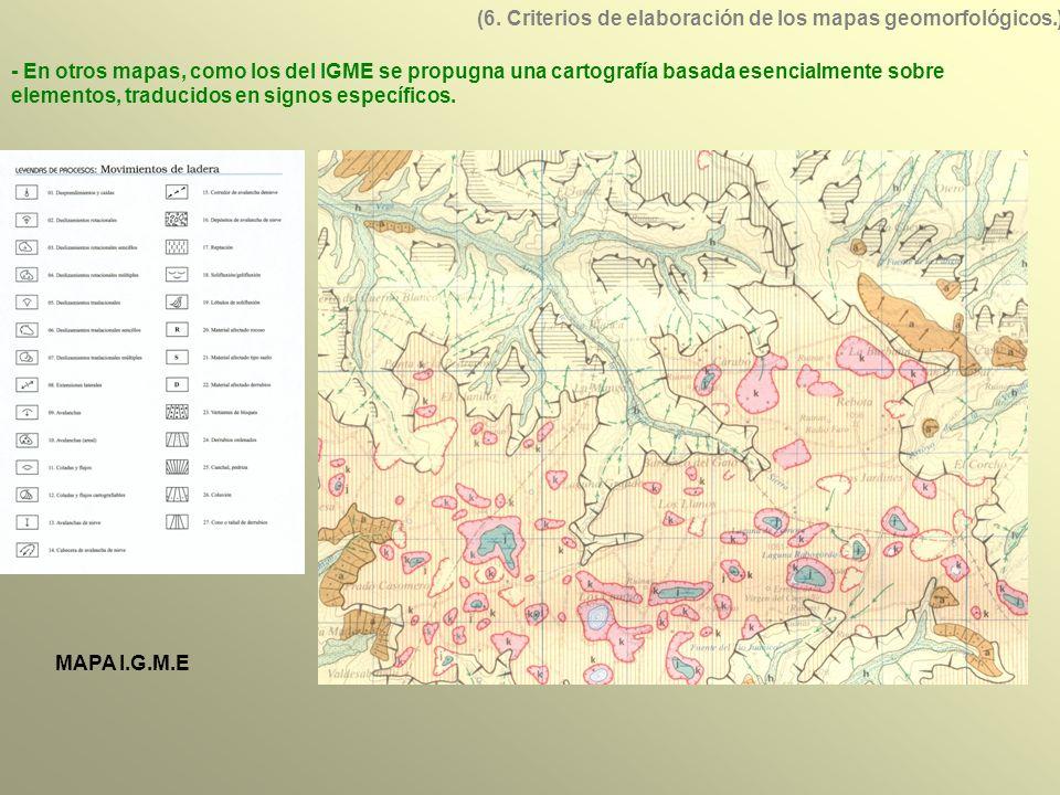 MAPA I.G.M.E - En otros mapas, como los del IGME se propugna una cartografía basada esencialmente sobre elementos, traducidos en signos específicos.