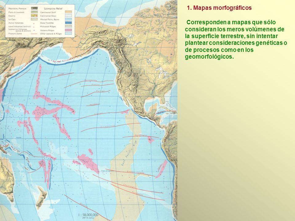 Corresponden a mapas que sólo consideran los meros volúmenes de la superficie terrestre, sin intentar plantear consideraciones genéticas o de procesos como en los geomorfológicos.