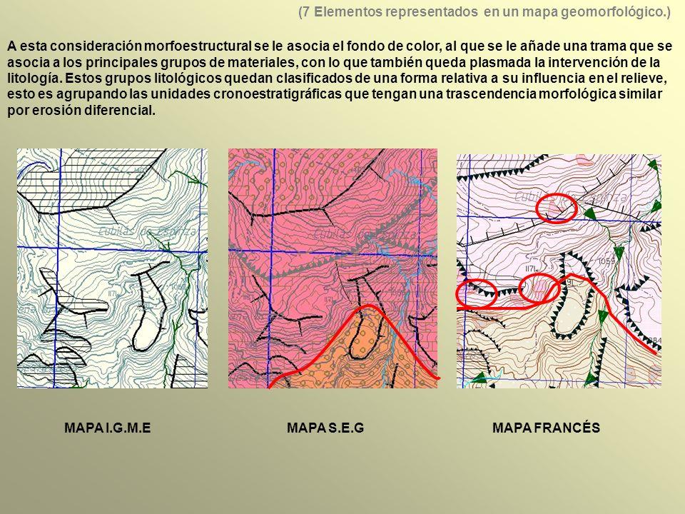 A esta consideración morfoestructural se le asocia el fondo de color, al que se le añade una trama que se asocia a los principales grupos de materiales, con lo que también queda plasmada la intervención de la litología.