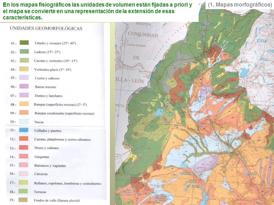 En los mapas fisiográficos las unidades de volumen están fijadas a priori y el mapa se convierte en una representación de la extensión de esas características.