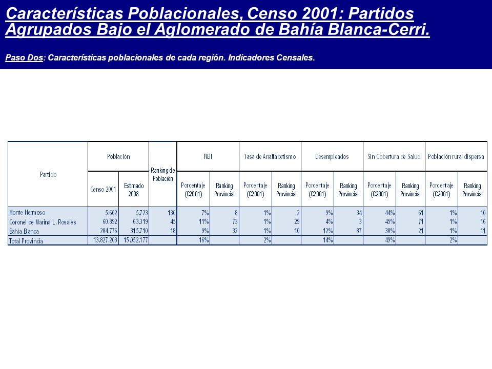 Características Poblacionales, Censo 2001: Partidos Agrupados Bajo el Aglomerado de Bahía Blanca-Cerri.