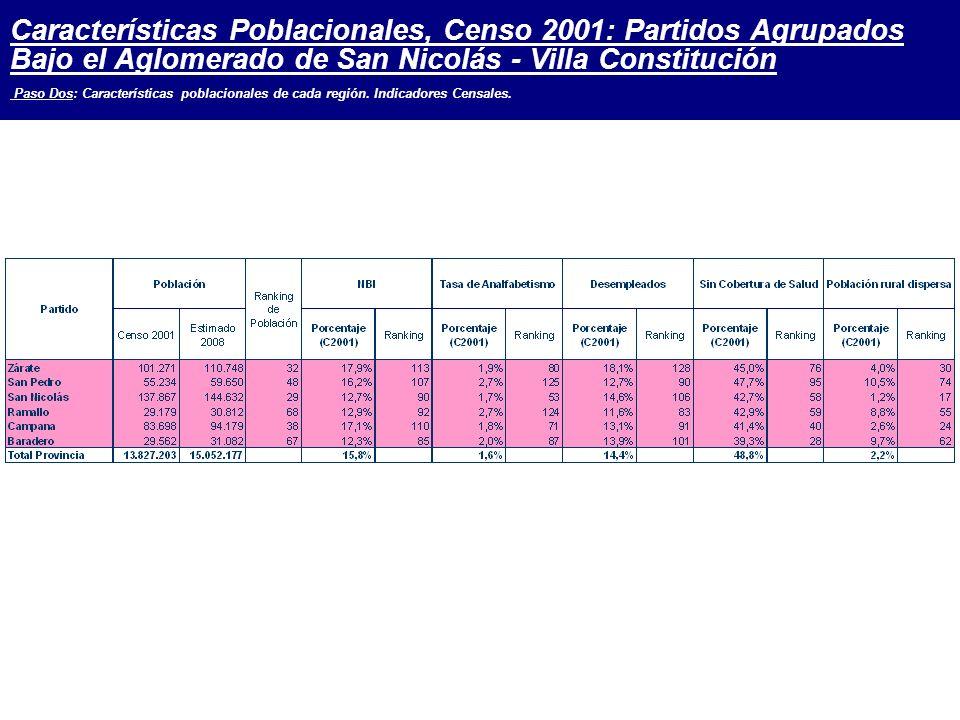 Características Poblacionales, Censo 2001: Partidos Agrupados Bajo el Aglomerado de San Nicolás - Villa Constitución Paso Dos: Características poblacionales de cada región.