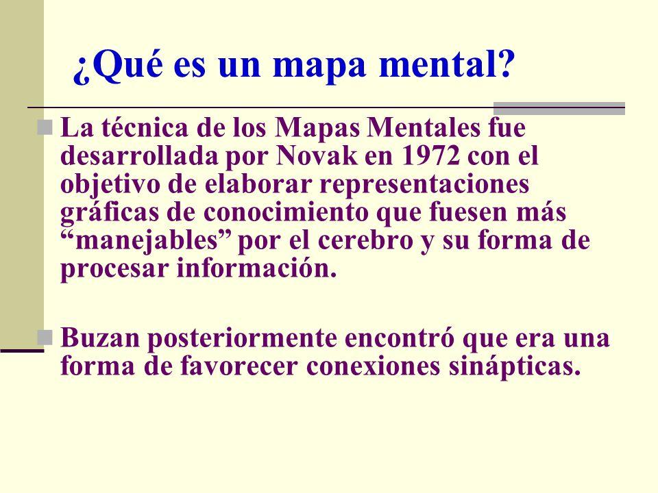 La técnica de los Mapas Mentales fue desarrollada por Novak en 1972 con el objetivo de elaborar representaciones gráficas de conocimiento que fuesen m
