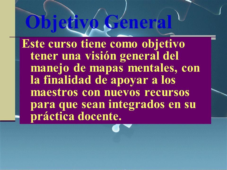 Objetivo General Este curso tiene como objetivo tener una visión general del manejo de mapas mentales, con la finalidad de apoyar a los maestros con n