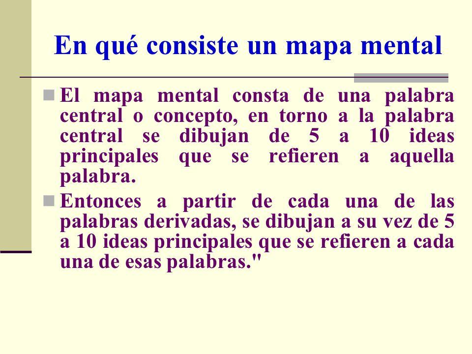 En qué consiste un mapa mental El mapa mental consta de una palabra central o concepto, en torno a la palabra central se dibujan de 5 a 10 ideas princ