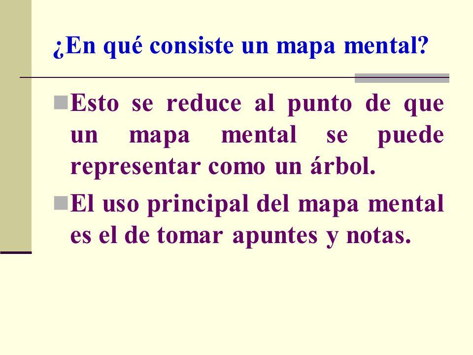 ¿En qué consiste un mapa mental? Esto se reduce al punto de que un mapa mental se puede representar como un árbol. El uso principal del mapa mental es