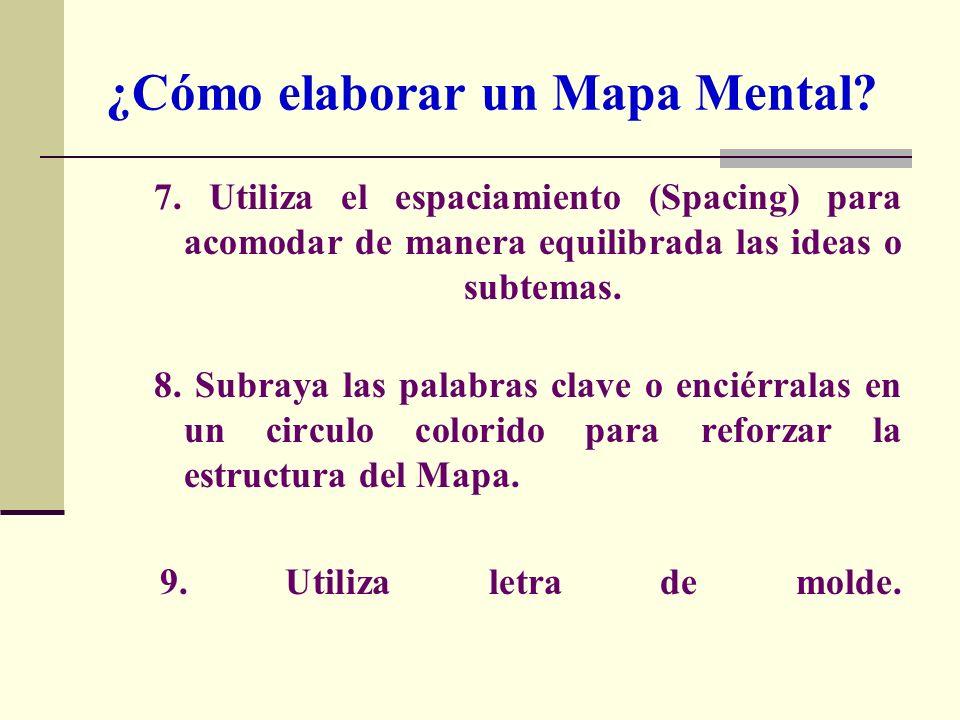 7. Utiliza el espaciamiento (Spacing) para acomodar de manera equilibrada las ideas o subtemas. 8. Subraya las palabras clave o enciérralas en un circ