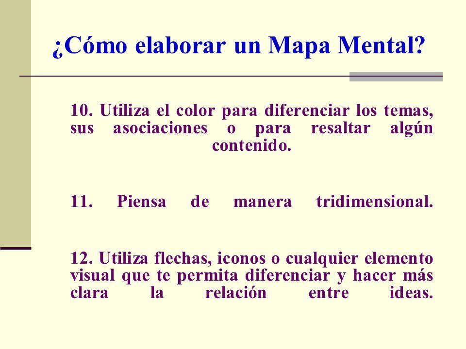 10. Utiliza el color para diferenciar los temas, sus asociaciones o para resaltar algún contenido. 11. Piensa de manera tridimensional. 12. Utiliza fl