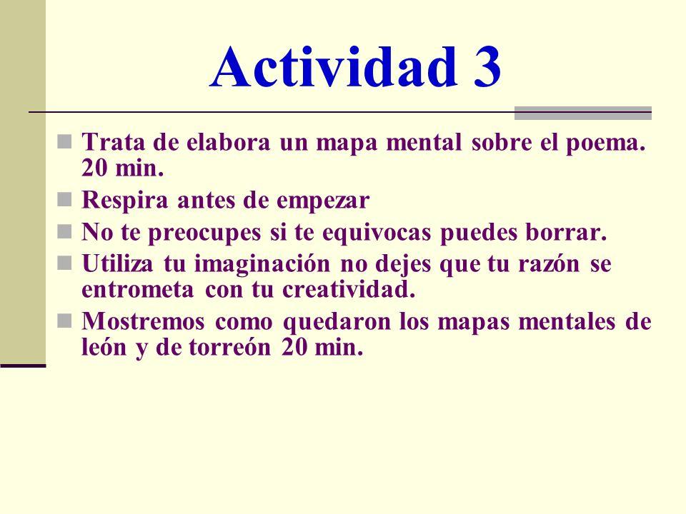 Actividad 3 Trata de elabora un mapa mental sobre el poema. 20 min. Respira antes de empezar No te preocupes si te equivocas puedes borrar. Utiliza tu