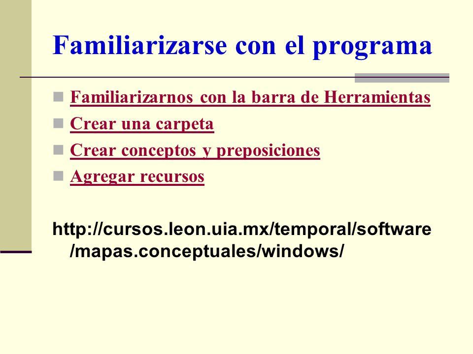 Familiarizarse con el programa Familiarizarnos con la barra de Herramientas Crear una carpeta Crear conceptos y preposiciones Agregar recursos http://