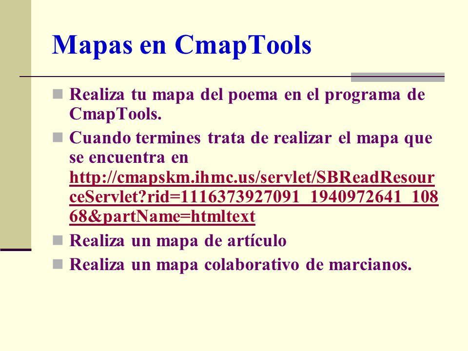 Mapas en CmapTools Realiza tu mapa del poema en el programa de CmapTools. Cuando termines trata de realizar el mapa que se encuentra en http://cmapskm