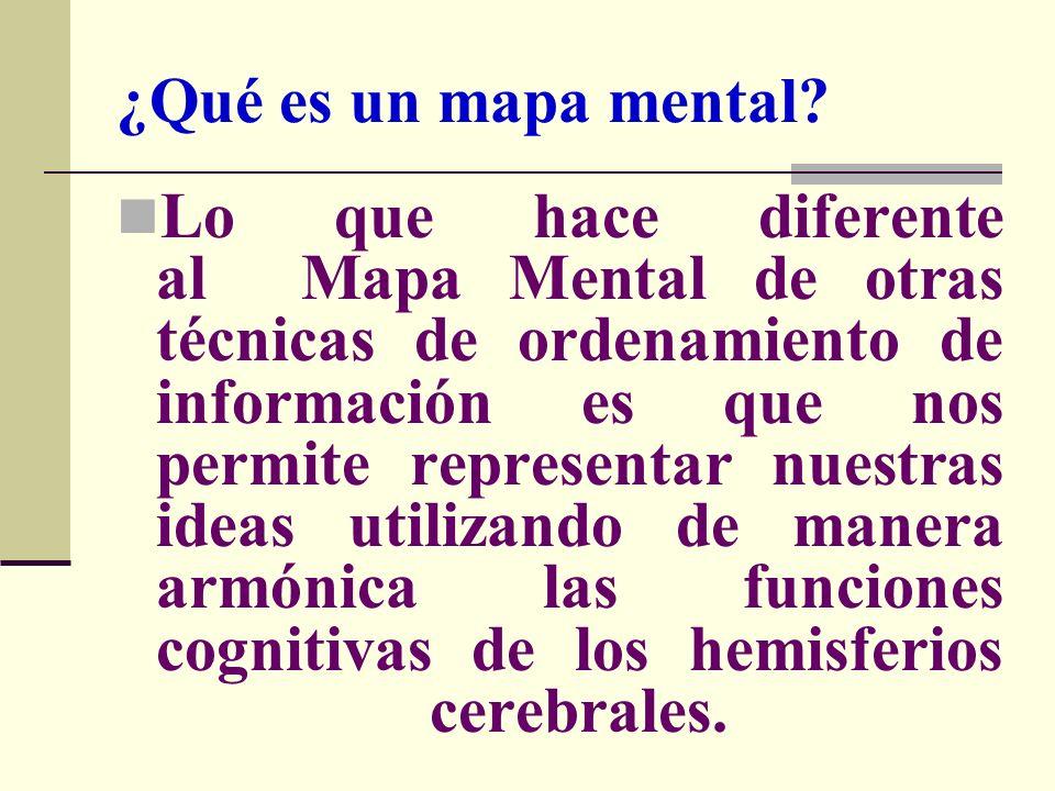 ¿Qué es un mapa mental? Lo que hace diferente al Mapa Mental de otras técnicas de ordenamiento de información es que nos permite representar nuestras