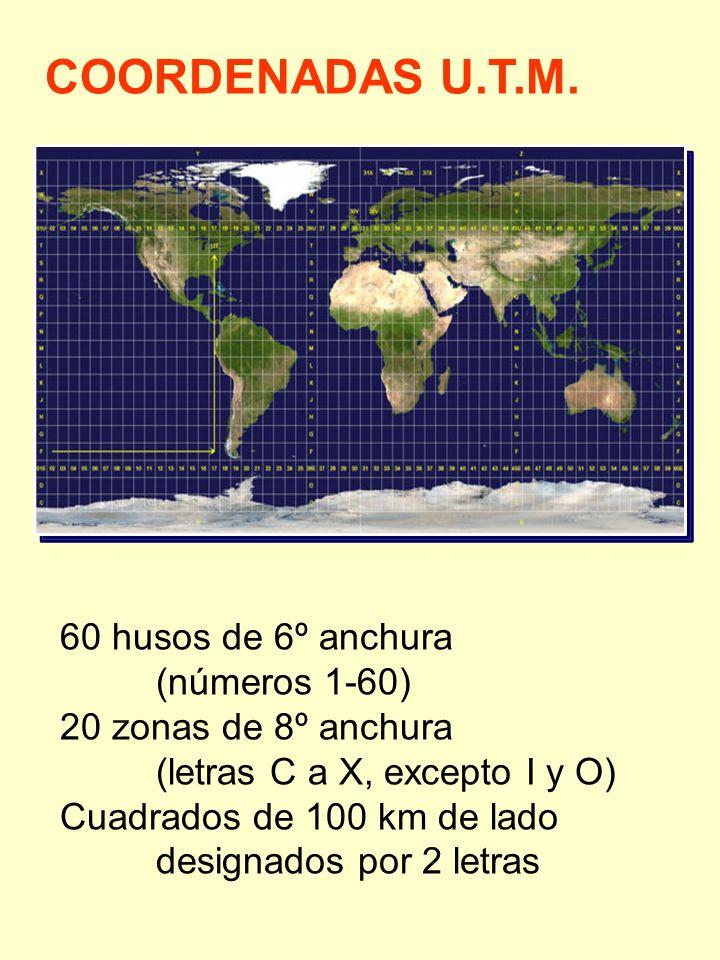 COORDENADAS U.T.M. 60 husos de 6º anchura (números 1-60) 20 zonas de 8º anchura (letras C a X, excepto I y O) Cuadrados de 100 km de lado designados p