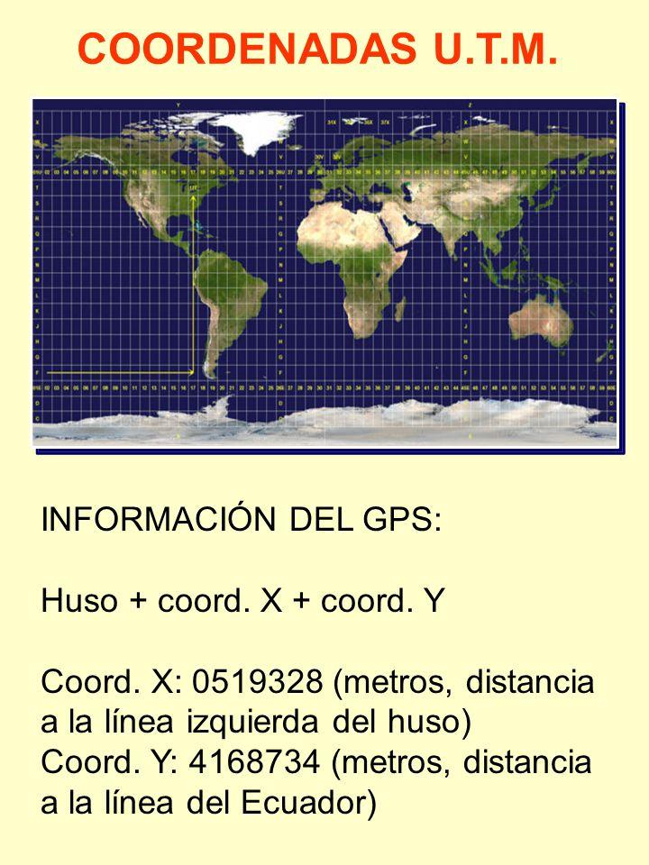 COORDENADAS U.T.M. INFORMACIÓN DEL GPS: Huso + coord. X + coord. Y Coord. X: 0519328 (metros, distancia a la línea izquierda del huso) Coord. Y: 41687