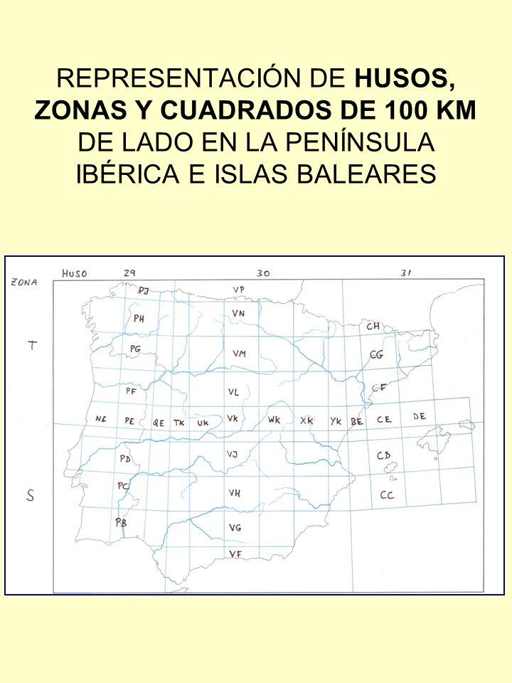 REPRESENTACIÓN DE HUSOS, ZONAS Y CUADRADOS DE 100 KM DE LADO EN LA PENÍNSULA IBÉRICA E ISLAS BALEARES