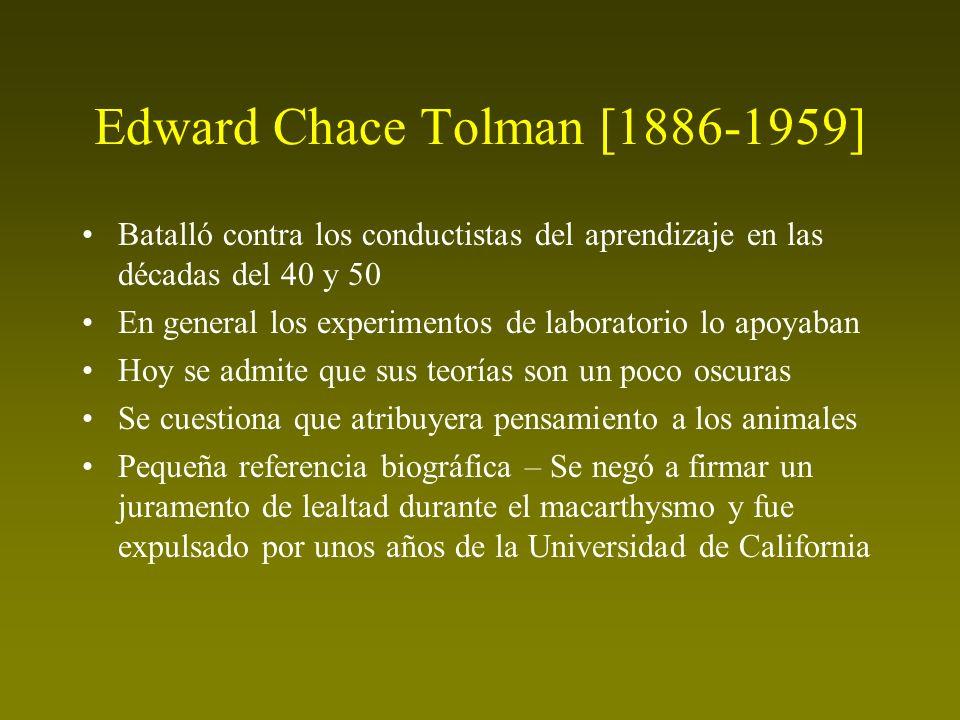Edward Chace Tolman [1886-1959] Batalló contra los conductistas del aprendizaje en las décadas del 40 y 50 En general los experimentos de laboratorio