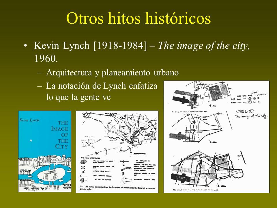 Otros hitos históricos Kevin Lynch [1918-1984] – The image of the city, 1960. –Arquitectura y planeamiento urbano –La notación de Lynch enfatiza lo qu