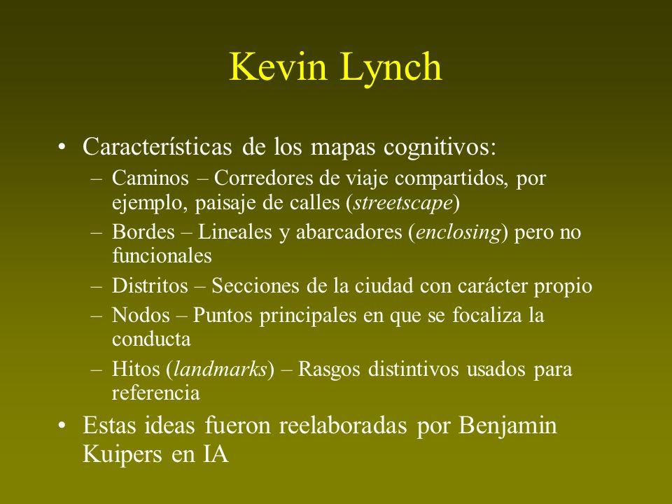Kevin Lynch Características de los mapas cognitivos: –Caminos – Corredores de viaje compartidos, por ejemplo, paisaje de calles (streetscape) –Bordes