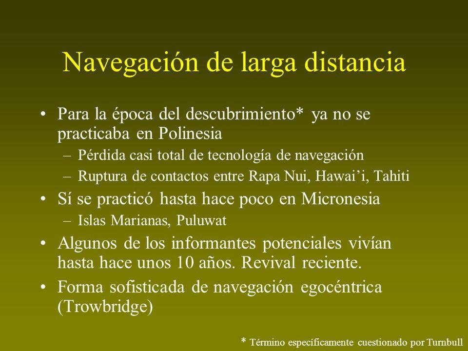 Navegación de larga distancia Para la época del descubrimiento* ya no se practicaba en Polinesia –Pérdida casi total de tecnología de navegación –Rupt