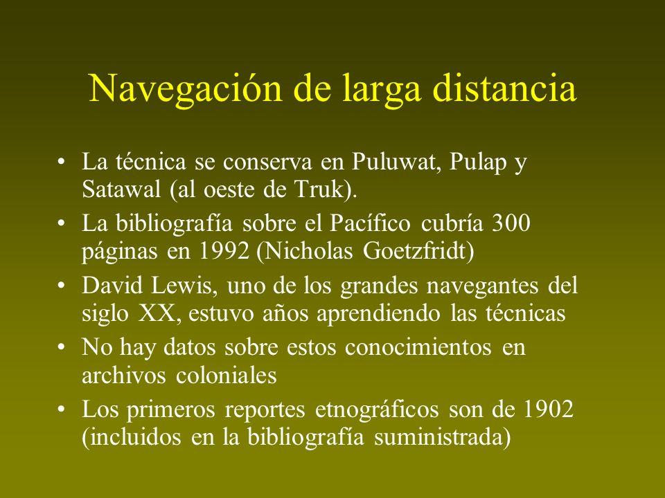 Navegación de larga distancia La técnica se conserva en Puluwat, Pulap y Satawal (al oeste de Truk). La bibliografía sobre el Pacífico cubría 300 pági