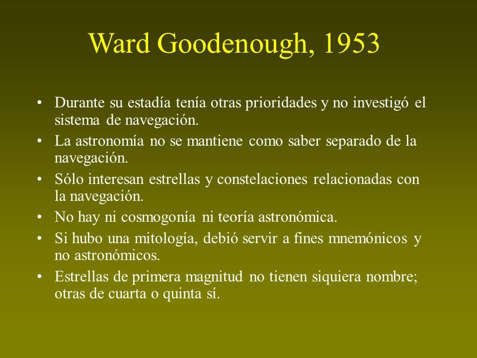 Ward Goodenough, 1953 Durante su estadía tenía otras prioridades y no investigó el sistema de navegación. La astronomía no se mantiene como saber sepa