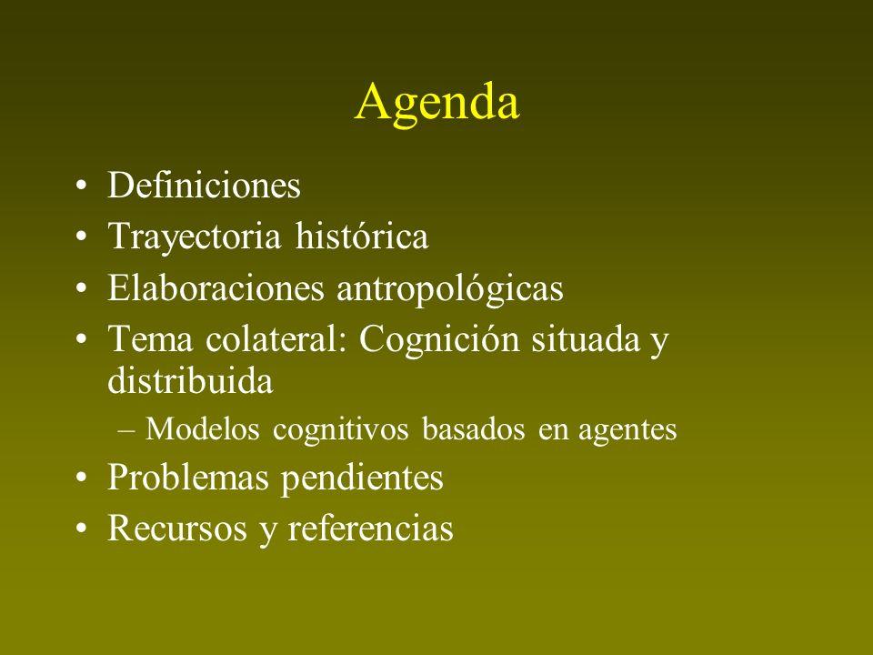 Agenda Definiciones Trayectoria histórica Elaboraciones antropológicas Tema colateral: Cognición situada y distribuida –Modelos cognitivos basados en