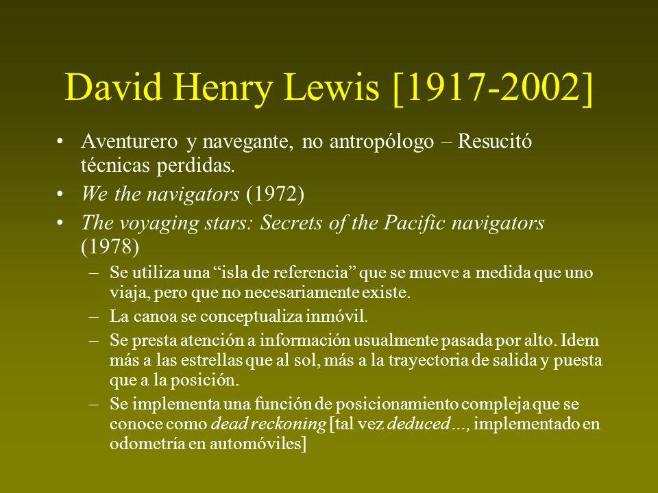 David Henry Lewis [1917-2002] Aventurero y navegante, no antropólogo – Resucitó técnicas perdidas. We the navigators (1972) The voyaging stars: Secret