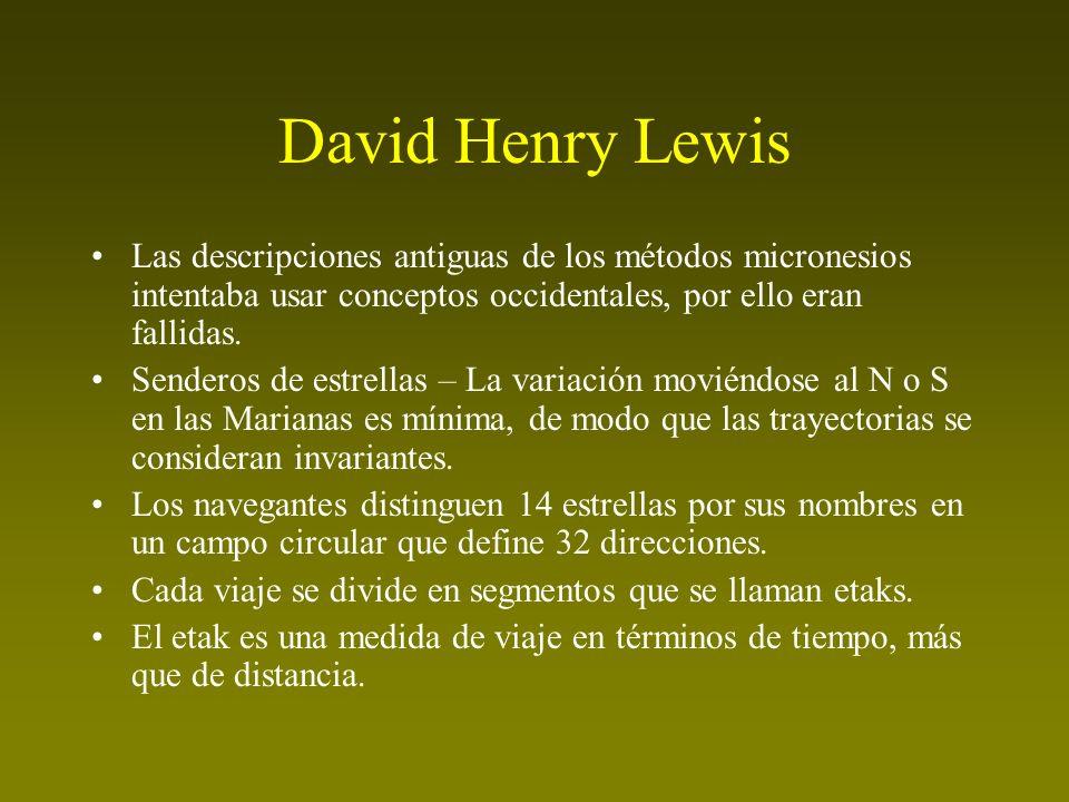 David Henry Lewis Las descripciones antiguas de los métodos micronesios intentaba usar conceptos occidentales, por ello eran fallidas. Senderos de est