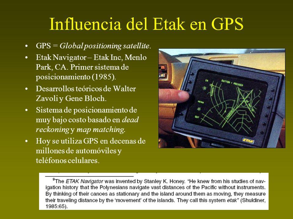 Influencia del Etak en GPS GPS = Global positioning satellite. Etak Navigator – Etak Inc, Menlo Park, CA. Primer sistema de posicionamiento (1985). De