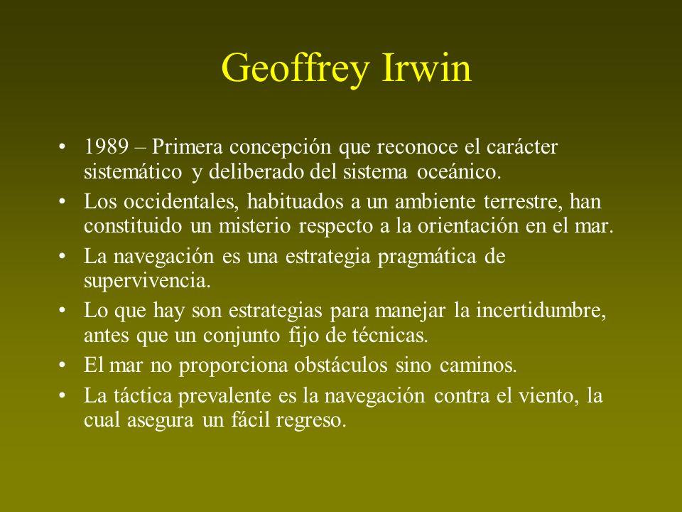 Geoffrey Irwin 1989 – Primera concepción que reconoce el carácter sistemático y deliberado del sistema oceánico. Los occidentales, habituados a un amb