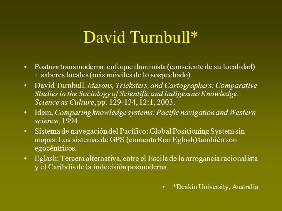 David Turnbull* Postura transmoderna: enfoque iluminista (consciente de su localidad) + saberes locales (más móviles de lo sospechado). David Turnbull