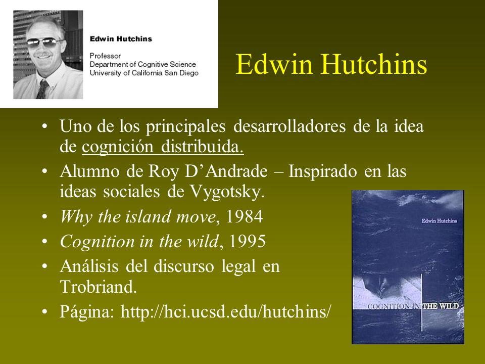 Edwin Hutchins Uno de los principales desarrolladores de la idea de cognición distribuida. Alumno de Roy DAndrade – Inspirado en las ideas sociales de