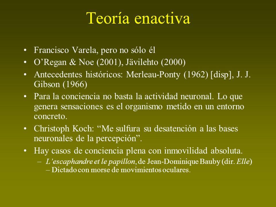 Teoría enactiva Francisco Varela, pero no sólo él ORegan & Noe (2001), Jävilehto (2000) Antecedentes históricos: Merleau-Ponty (1962) [disp], J. J. Gi