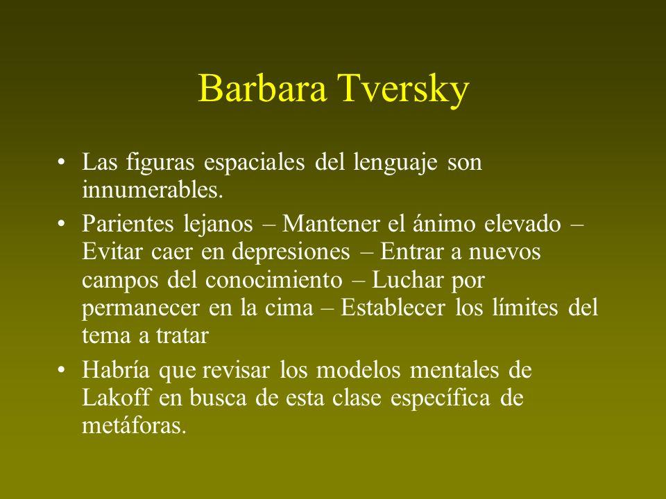 Barbara Tversky Las figuras espaciales del lenguaje son innumerables. Parientes lejanos – Mantener el ánimo elevado – Evitar caer en depresiones – Ent