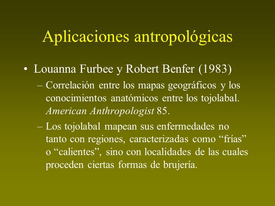 Aplicaciones antropológicas Louanna Furbee y Robert Benfer (1983) –Correlación entre los mapas geográficos y los conocimientos anatómicos entre los to