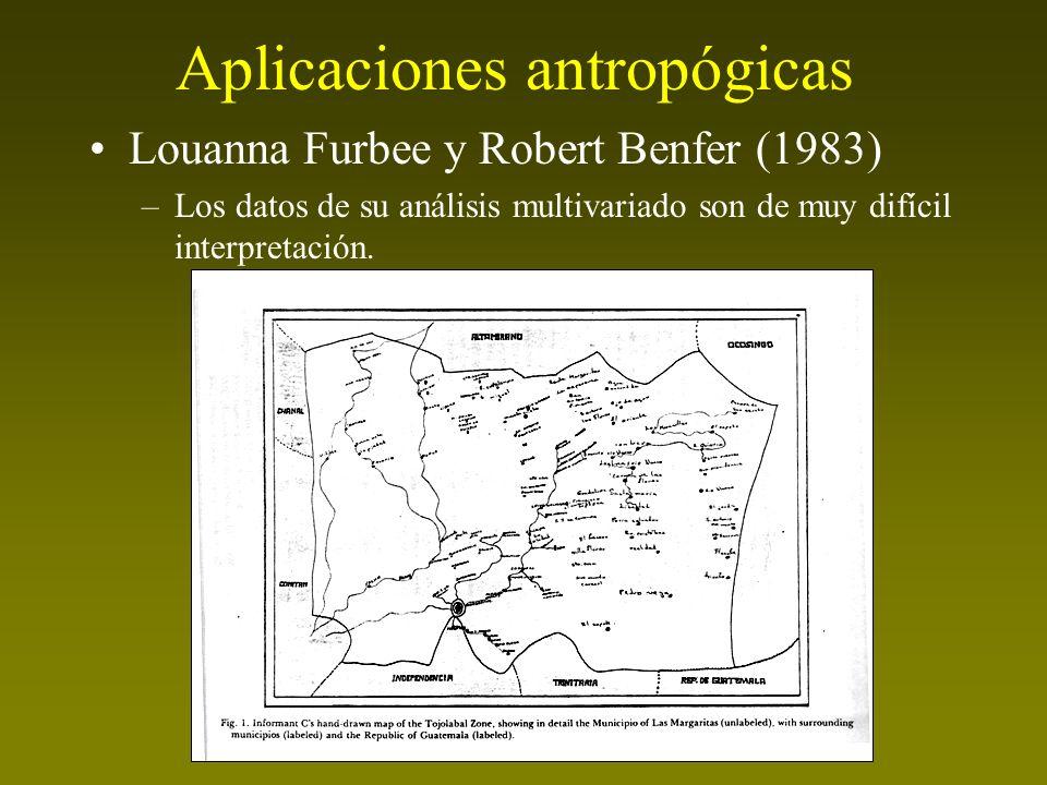 Aplicaciones antropógicas Louanna Furbee y Robert Benfer (1983) –Los datos de su análisis multivariado son de muy difícil interpretación.
