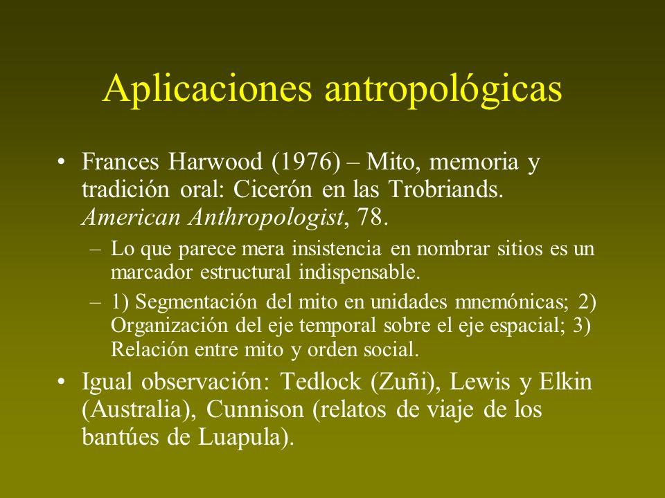 Aplicaciones antropológicas Frances Harwood (1976) – Mito, memoria y tradición oral: Cicerón en las Trobriands. American Anthropologist, 78. –Lo que p