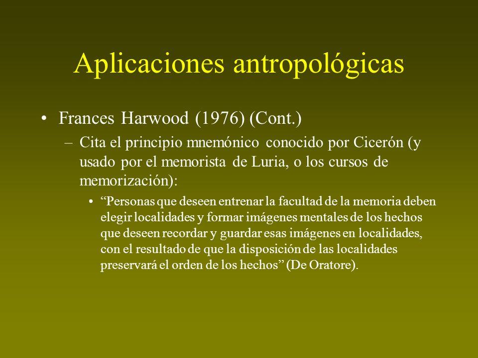 Aplicaciones antropológicas Frances Harwood (1976) (Cont.) –Cita el principio mnemónico conocido por Cicerón (y usado por el memorista de Luria, o los